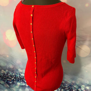 Red Knit Sweater w/Faux Button back